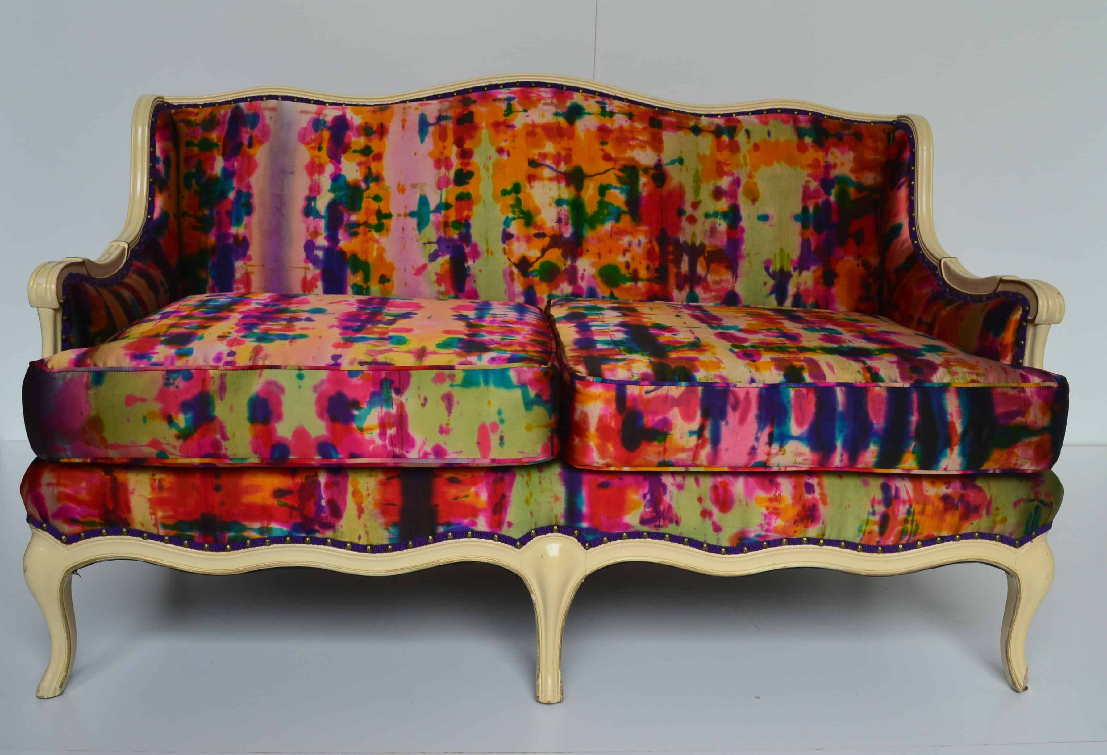Queen Anne Hand Dyed Silk Settee