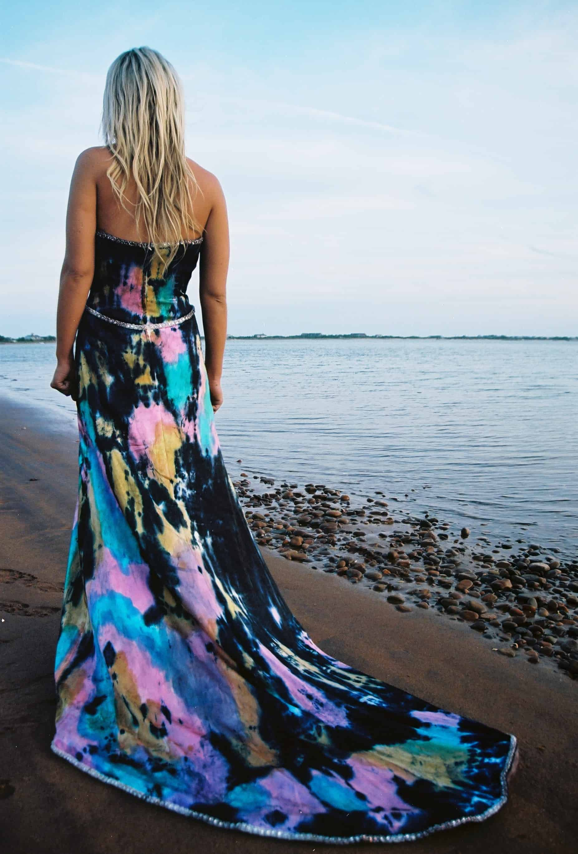One of a Kind Formal Silk Dress Hand Painted