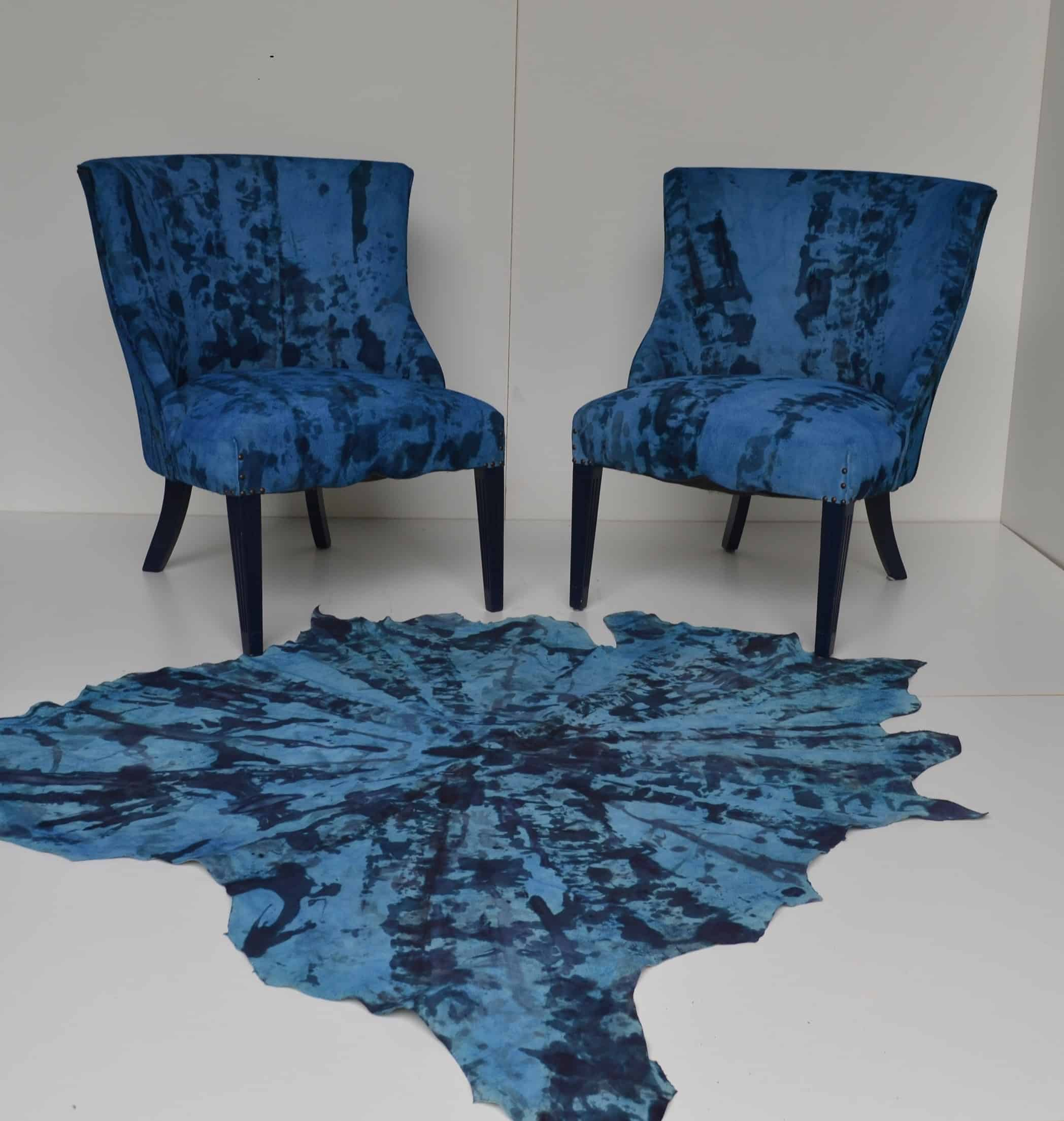 Mid-Century Hand Painted Cowhide Chairs and Rug