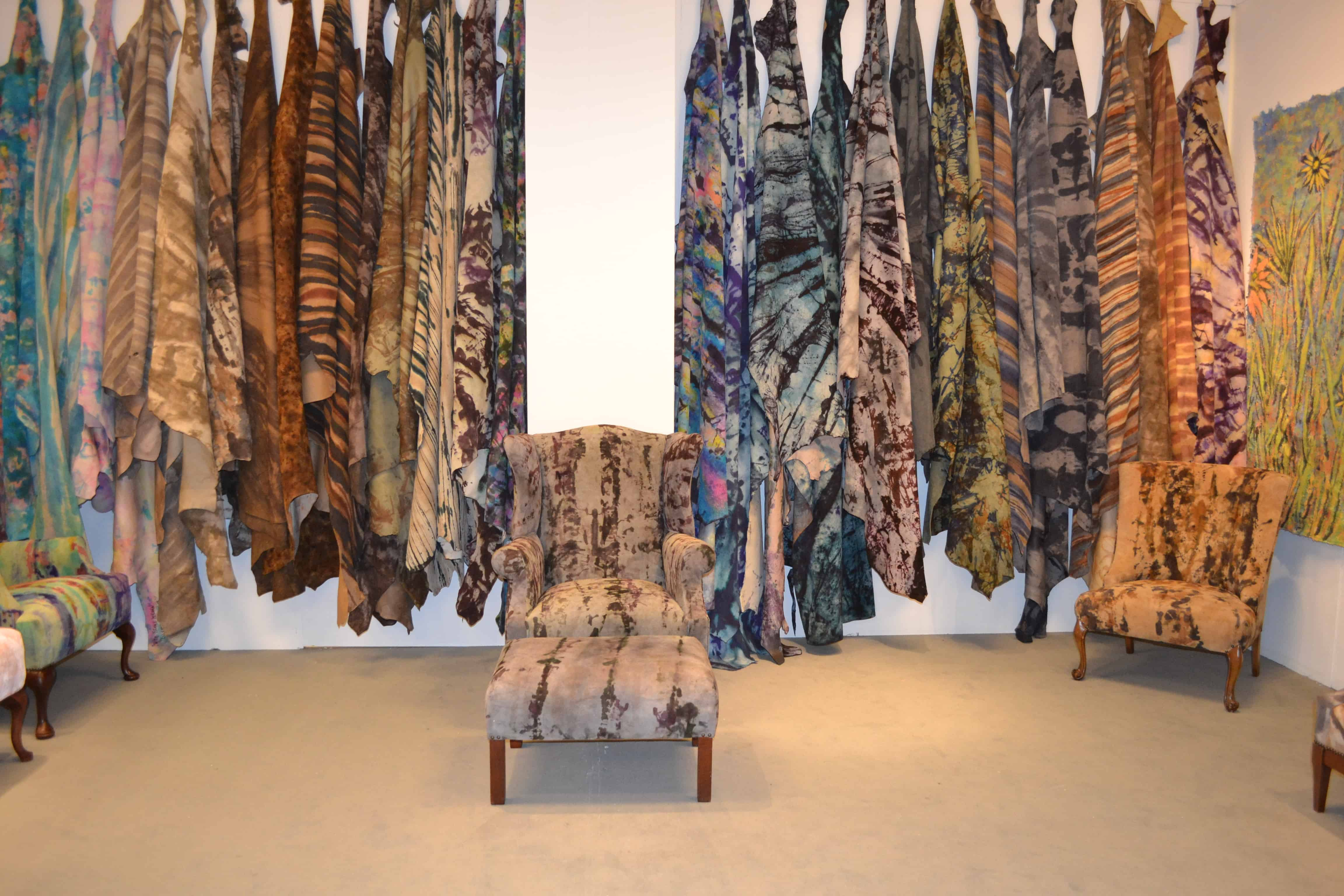 One of a Kind Hand Painted Cowhide Rugs and Upholstery Fabric