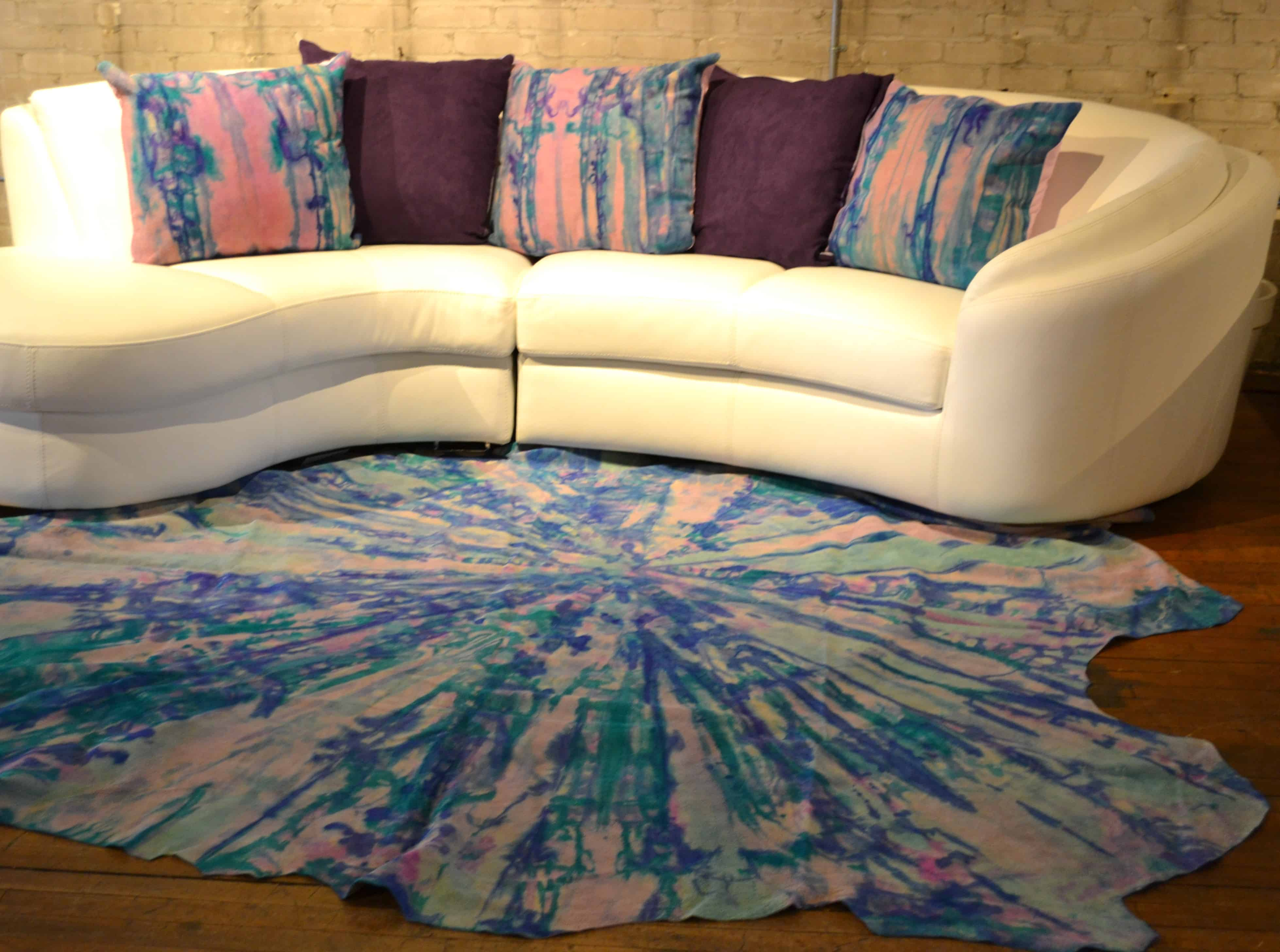 Hand Painted One of a Kind Cowhide Rug and Pillows