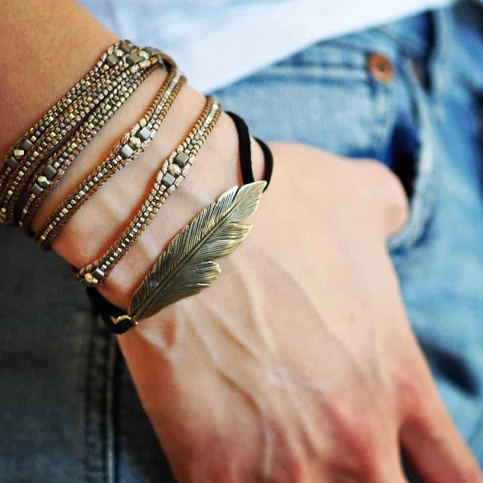 Wrap Bracelet, Feather Bracelet