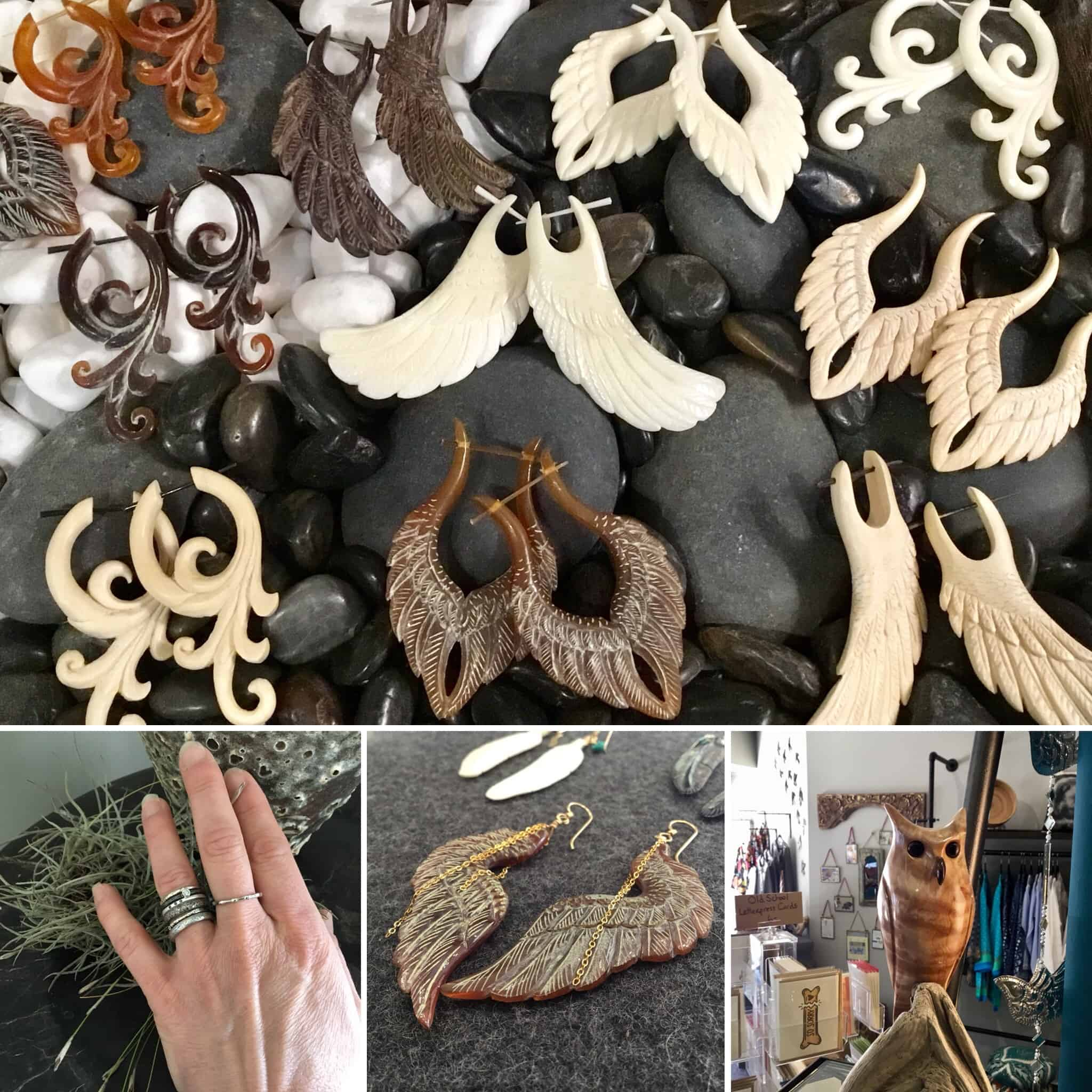 Hand-carved earrings