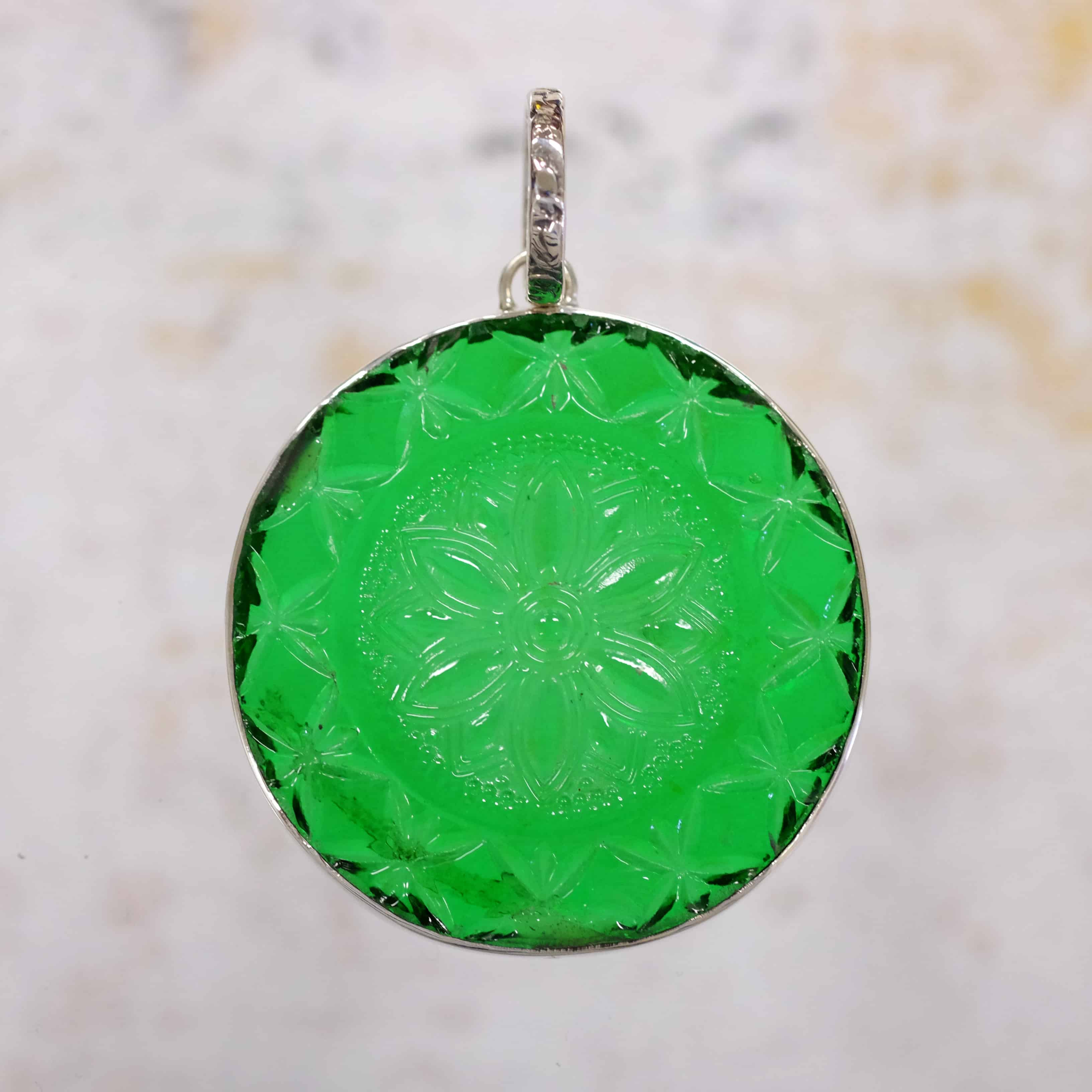 Green Pressed Glass Pendant