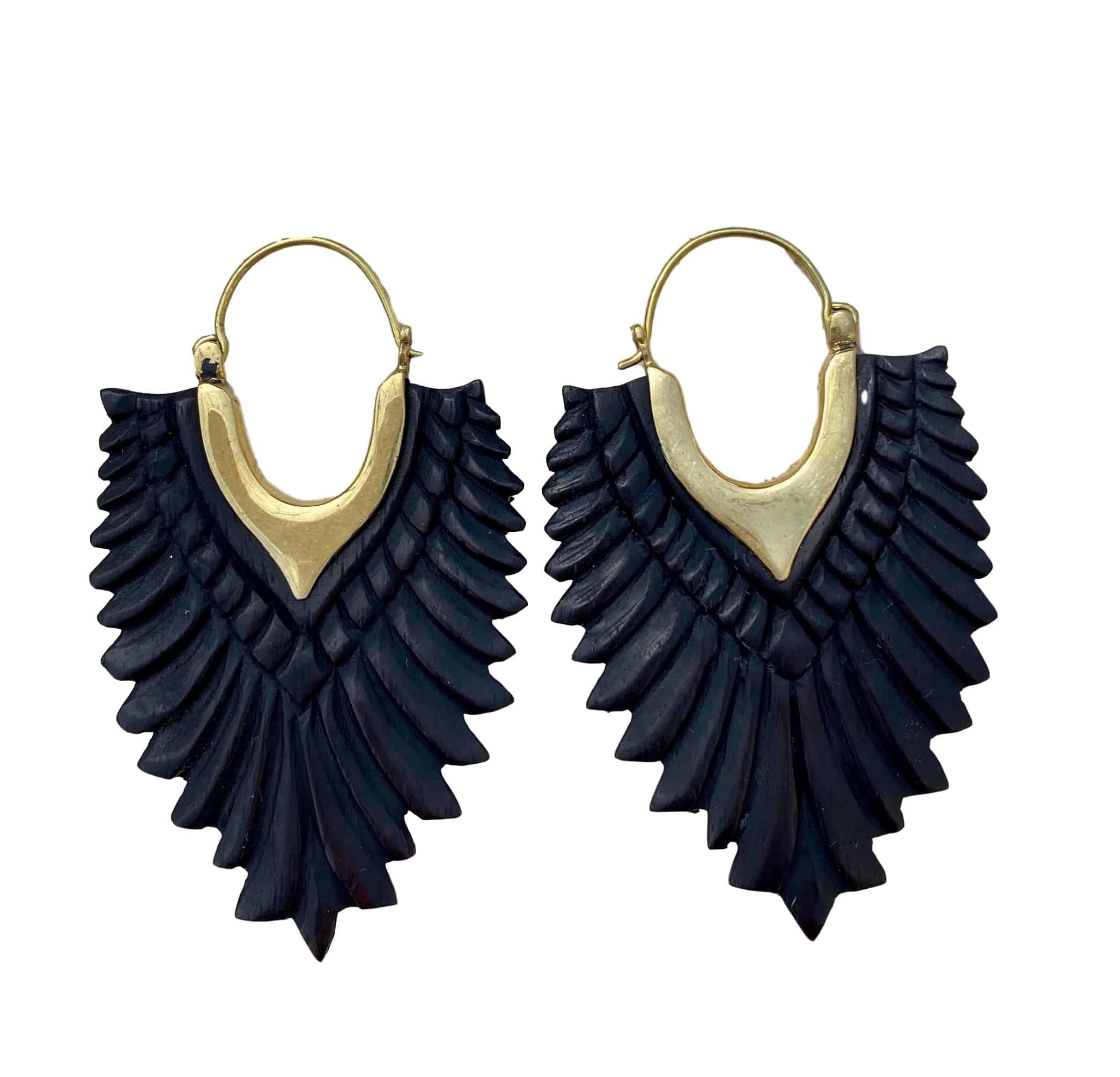 Wood Earrings Black