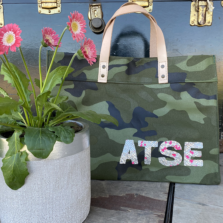 Camo Canvas Tote with 4 Letter Monogram