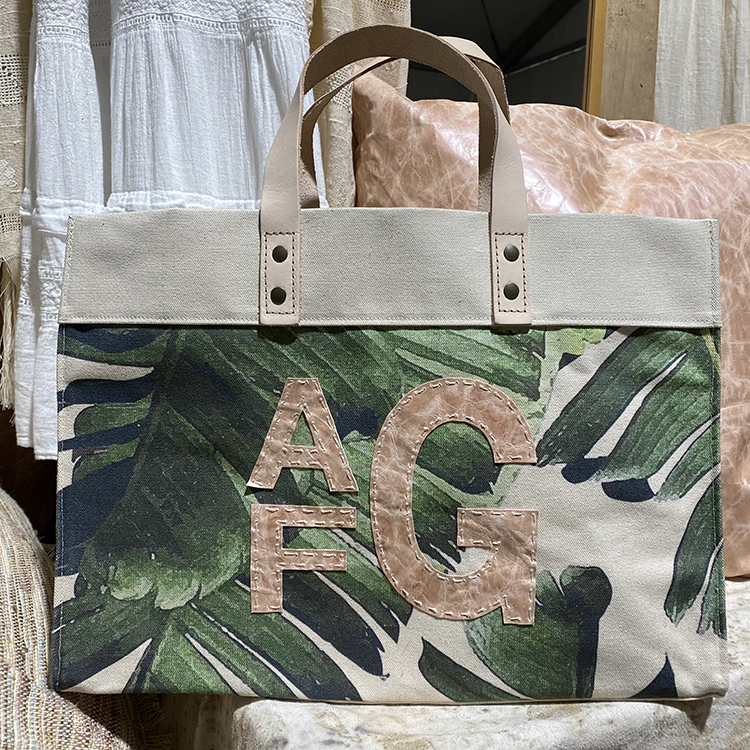 Palm Print Canvas Tote with Block Monogram